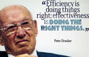 """""""Eficiencia es hacer las cosas correctamente; Eficacia es hacer las cosas correctas.""""  Peter Drucker."""