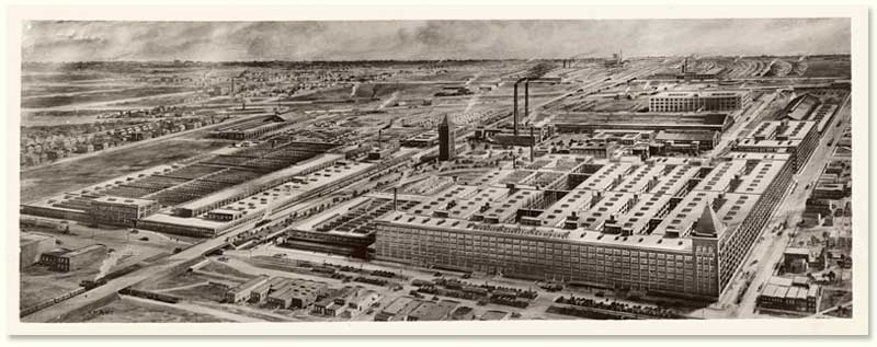 Western Electric Company en Hawthorne, vista aérea en 1925
